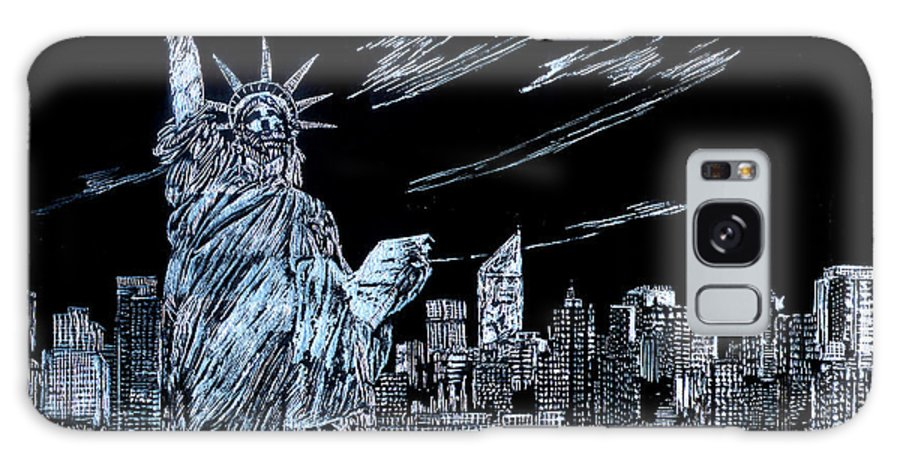 Cities Galaxy S8 Case featuring the drawing New York New York New York by Saad Hasnain