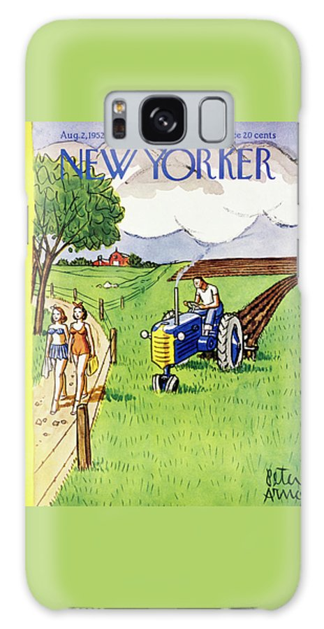 Farmer Galaxy Case featuring the painting New Yorker August 2 1952 by Peter Arno