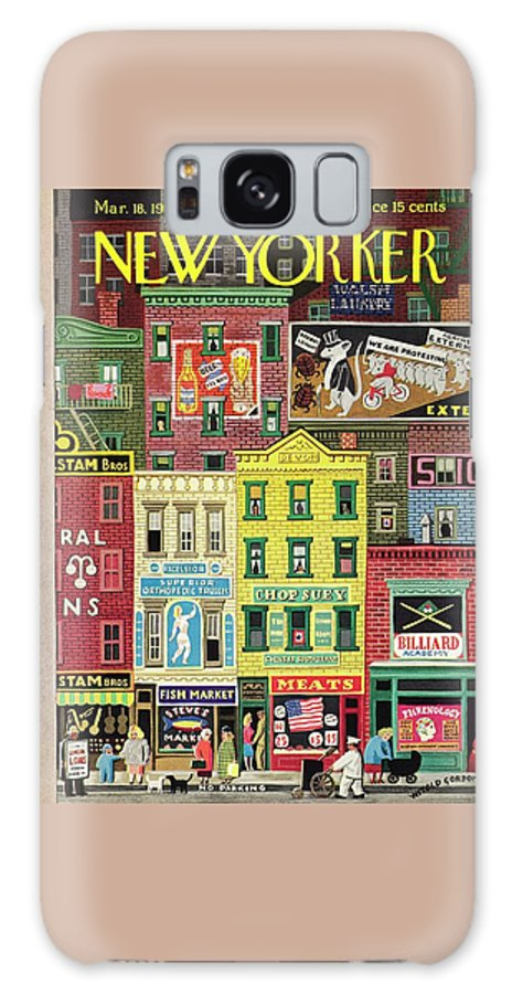 Street Galaxy S8 Case featuring the painting New Yorker March 18 1944 by Witold Gordon