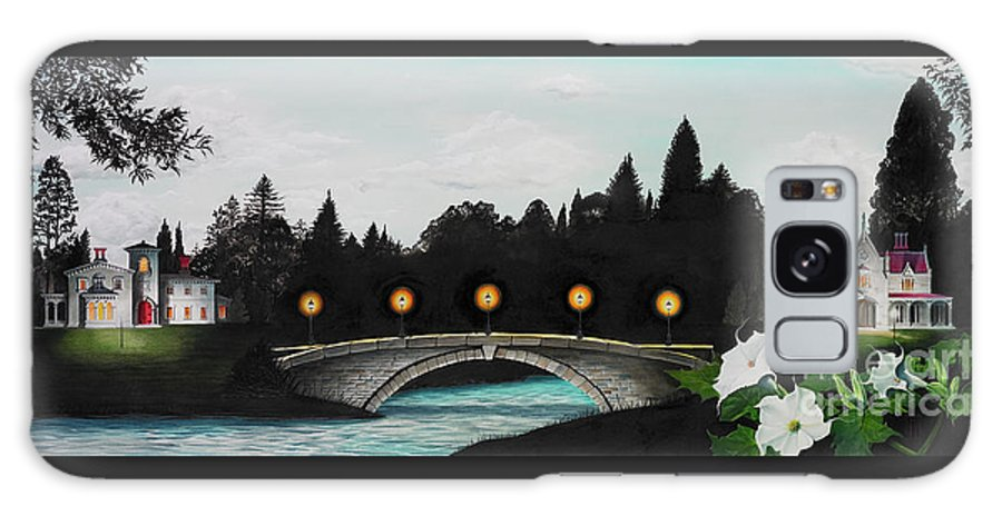 Architecture Galaxy S8 Case featuring the painting Night Bridge by Melissa A Benson