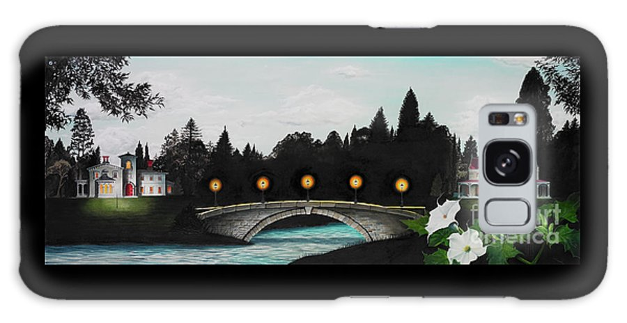 Architecture Galaxy Case featuring the painting Night Bridge by Melissa A Benson