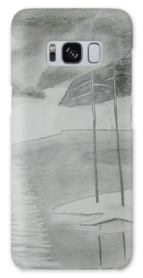 Landscape Galaxy S8 Case featuring the drawing Night Lake.black Pencil 1990 by Dr Loifer Vladimir