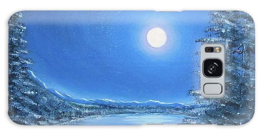 Night Galaxy Case featuring the painting Night Moon by Lisa Cini