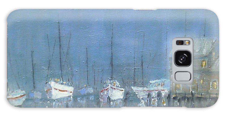 Boats Galaxy S8 Case featuring the painting Night Mooring by Michael Lynn Brown