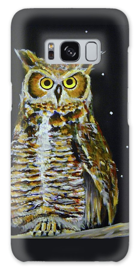 Owl Galaxy S8 Case featuring the painting Night Owl by Cami Lee