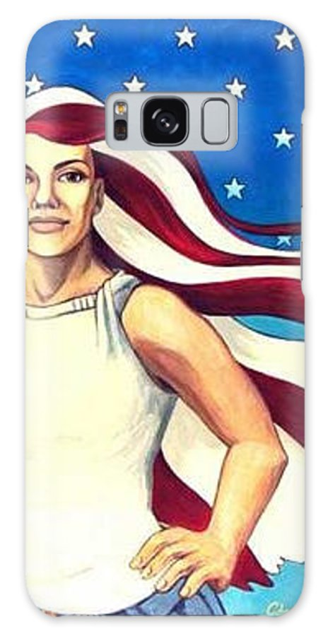 Lady Liberty Galaxy S8 Case featuring the painting No Chains For Lady Liberty by Cheri Crawford