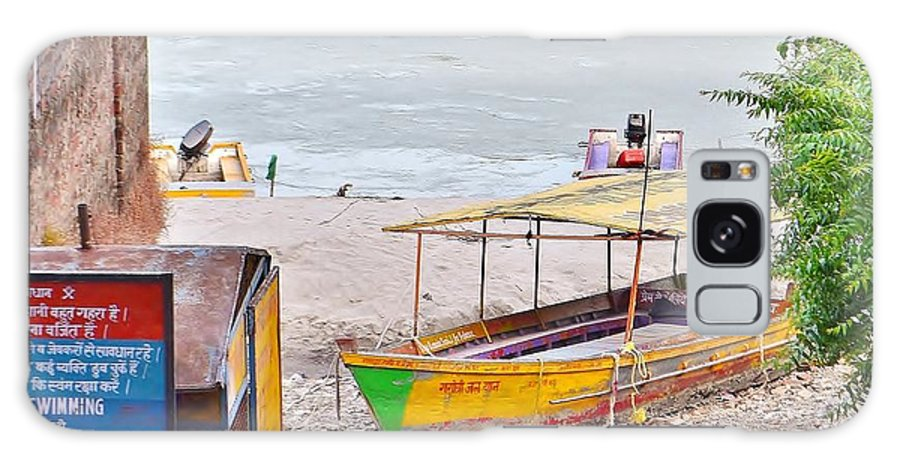 Boat Galaxy S8 Case featuring the photograph No Swimming - Rishikesh India by Kim Bemis