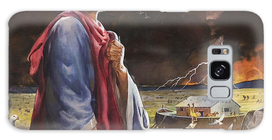 Deluge; Genesis; Flood; Rescue; Animal; Two By Two; Storm; Elephant; Giraffe; Dove; Boat; Land; Fork Lightning; Cloud; Scoll; Chicken; Rhino; Bird; Pair; Great Flood; Bible; Noah; Children's Illustration; Biblical; Scroll; Male Galaxy S8 Case featuring the painting Noah's Ark by James Edwin McConnell