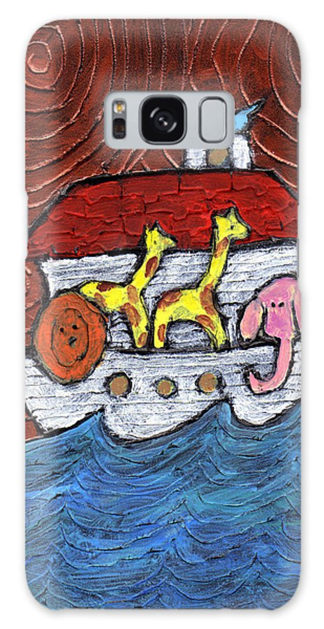 Noah Galaxy S8 Case featuring the painting Noahs Ark With Blue Bird by Wayne Potrafka