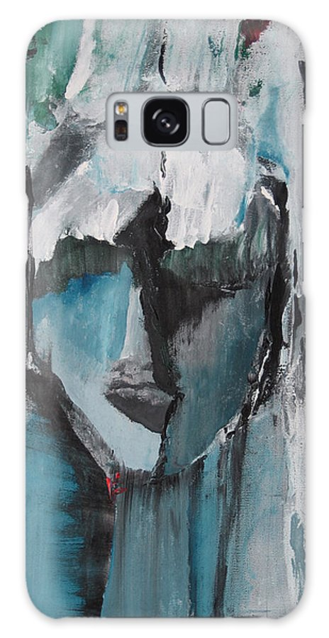 Abstract Acrylic Blue Darkestartist Nobody Portrait Darkest Artist Face Galaxy S8 Case featuring the painting Nobody by Darkest Artist