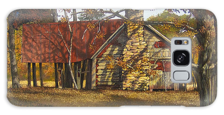 Landscape Galaxy Case featuring the painting Nolan Corners Farmhouse by Peter Muzyka