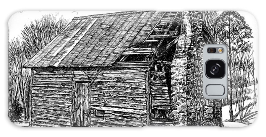 Landscape Galaxy Case featuring the drawing Nolan Corners Sharecropper's Shack by Peter Muzyka