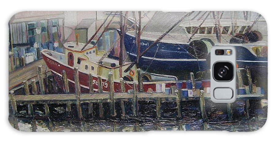 Boats Galaxy Case featuring the painting Nova Scotia Boats At Rest by Richard Nowak