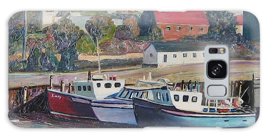 Nova Scotia Galaxy Case featuring the painting Nova Scotia Boats by Richard Nowak