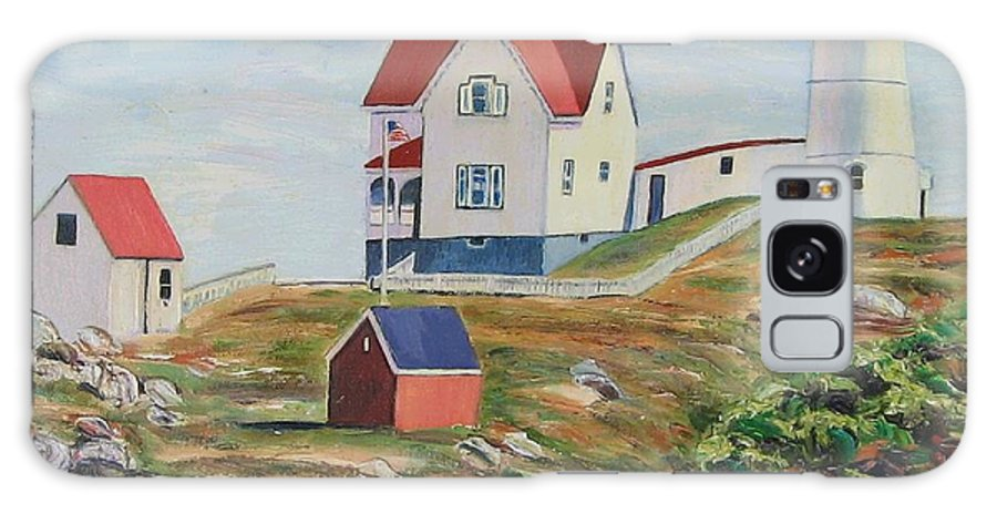 Nubble Light House Galaxy Case featuring the painting Nubble Light House Maine by Richard Nowak