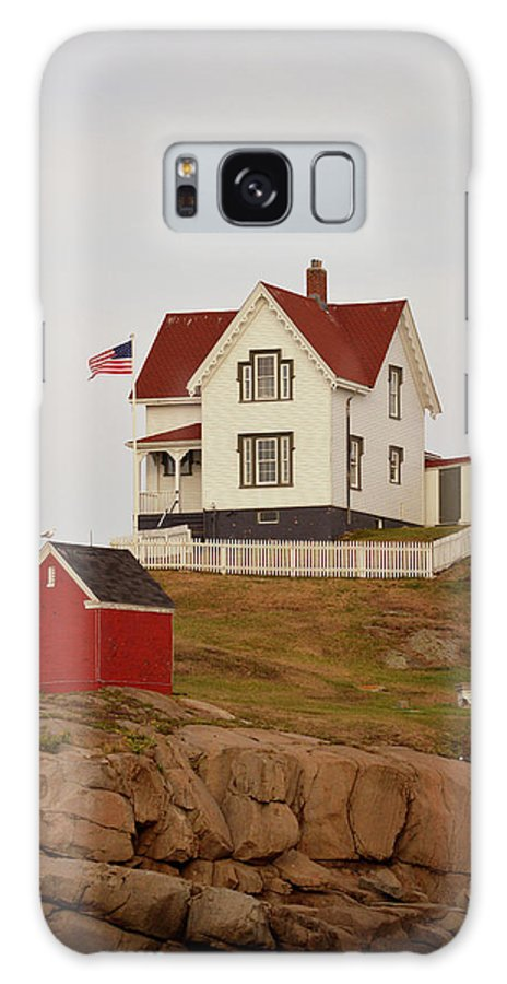 Nubble Lighthouse Galaxy S8 Case featuring the photograph Nubble Lighthouse Shed And House by Pamela Picassito