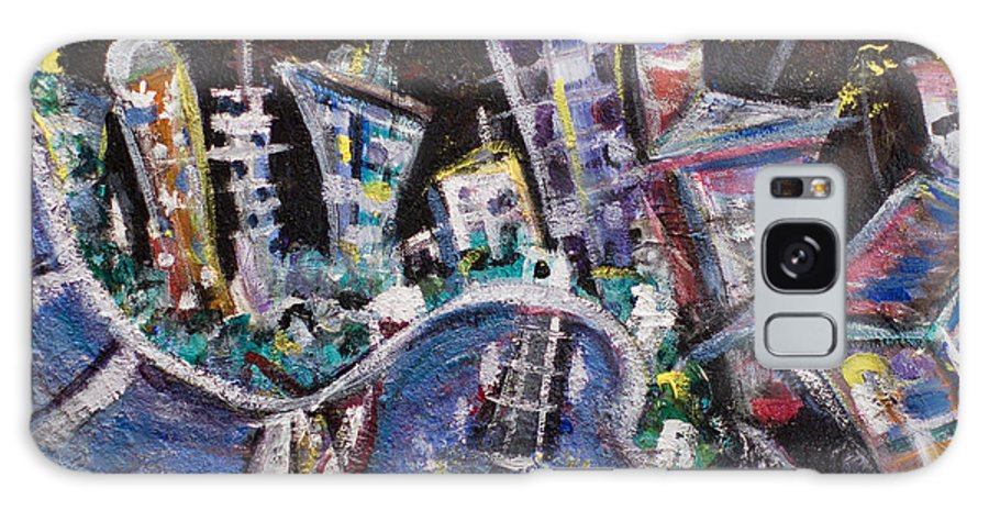 New York City Manhattan Hudson River Galaxy S8 Case featuring the painting Nyc Impressions 2 by Jason Gluskin