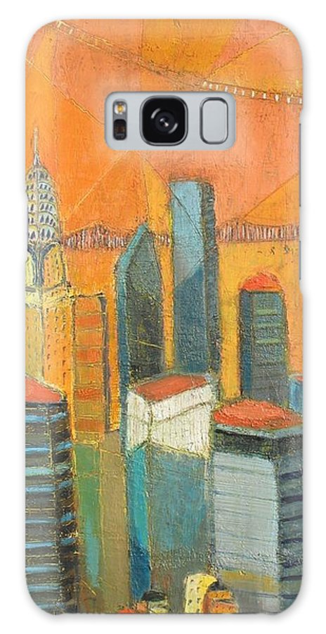 Galaxy S8 Case featuring the painting Nyc In Orange by Habib Ayat