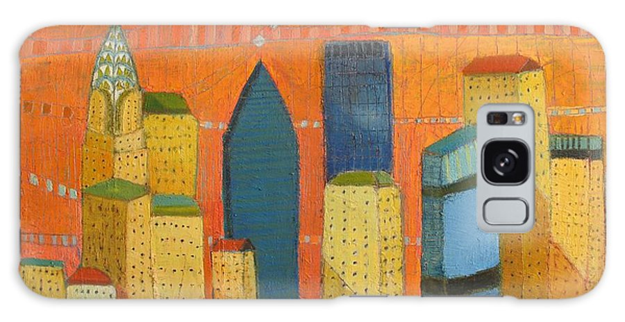 Abstract Cityscape Galaxy S8 Case featuring the painting Nyc With Chrysler by Habib Ayat
