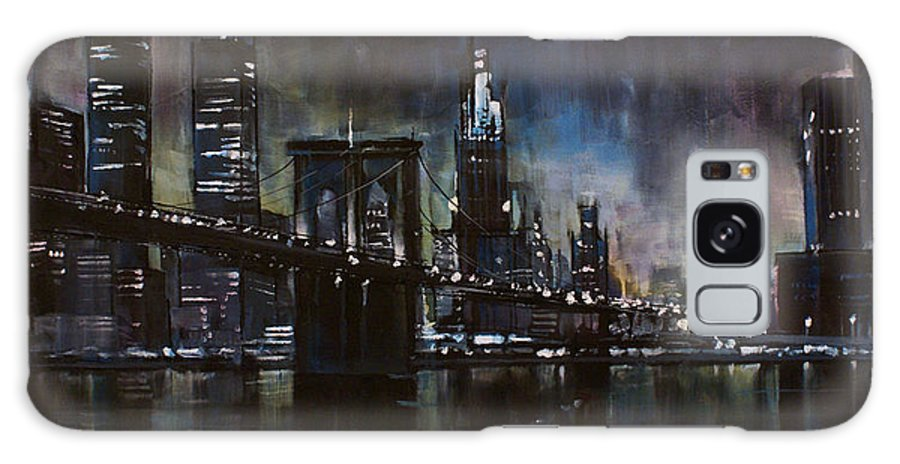 Cityscape Galaxy Case featuring the painting N.y.city by Michael Lang
