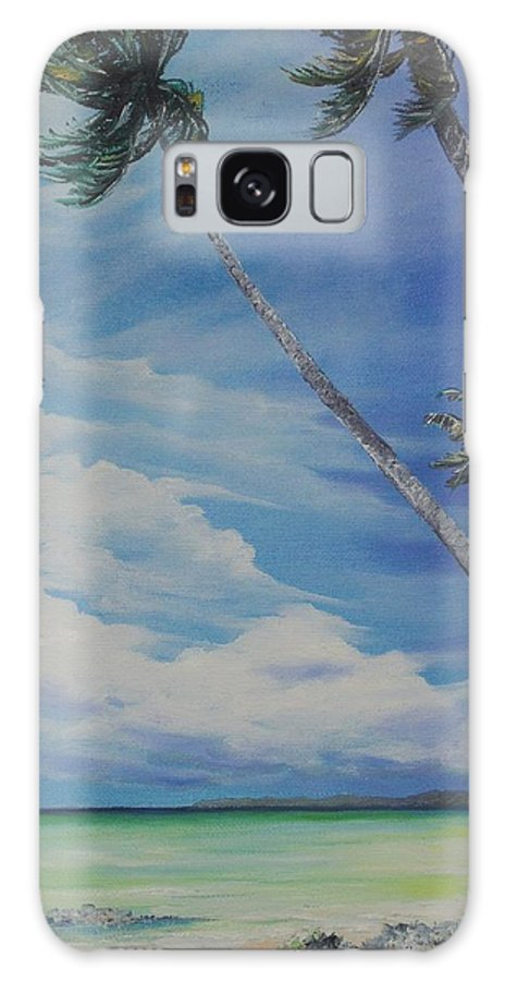 Trinidad And Tobago Seascape Galaxy S8 Case featuring the painting Nylon Pool Tobago. by Karin Dawn Kelshall- Best