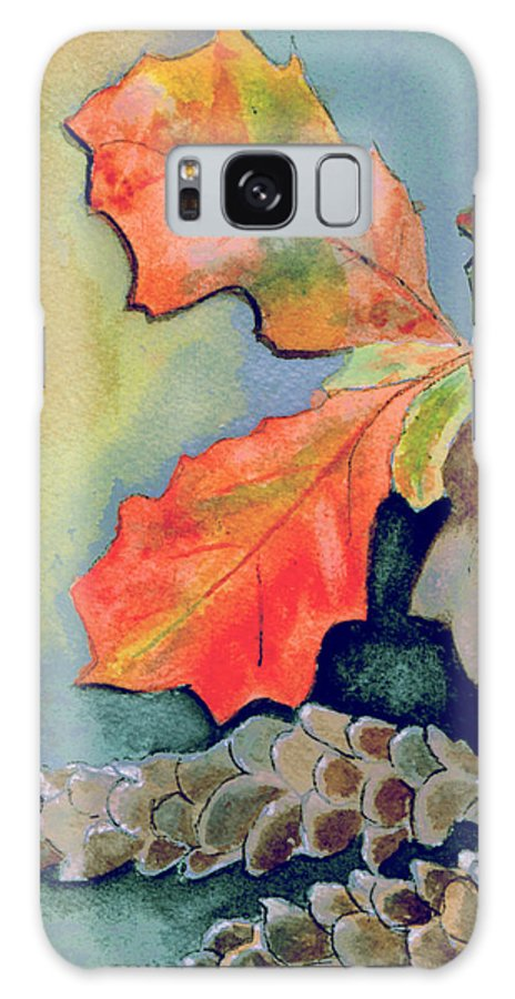 Watercolor Galaxy S8 Case featuring the painting Oak Leaves And Pinecones by Brenda Owen
