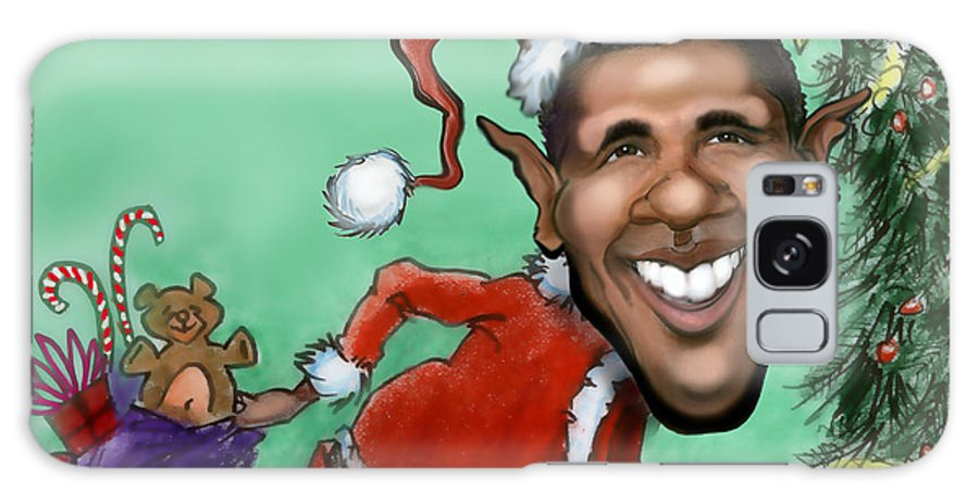 Santa Galaxy S8 Case featuring the digital art Obama Christmas by Kevin Middleton