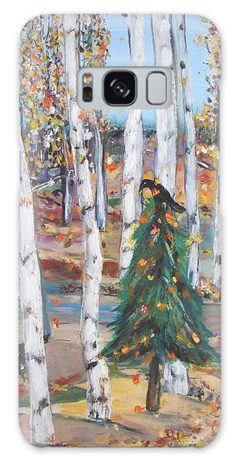 Fall Aspens With Lone Pine Tree Decorated With Gold Leaves And Two Crows Galaxy Case featuring the painting October Christmas by Sarah Wharton White