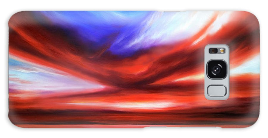 Sunrise; Sunset; Power; Glory; Cloudscape; Skyscape; Purple; Red; Blue; Stunning; Landscape; James C. Hill; James Christopher Hill; Jameshillgallery.com; Ocean; Lakes; Storm; Tornado; Lightning Galaxy S8 Case featuring the painting October Sky V by James Christopher Hill