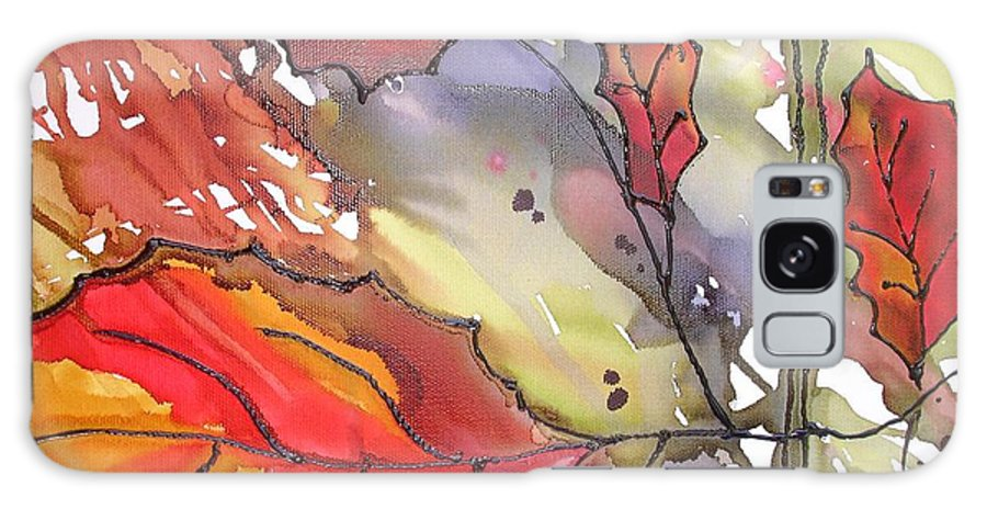 Leaf Galaxy Case featuring the mixed media Octoberthird by Susan Kubes