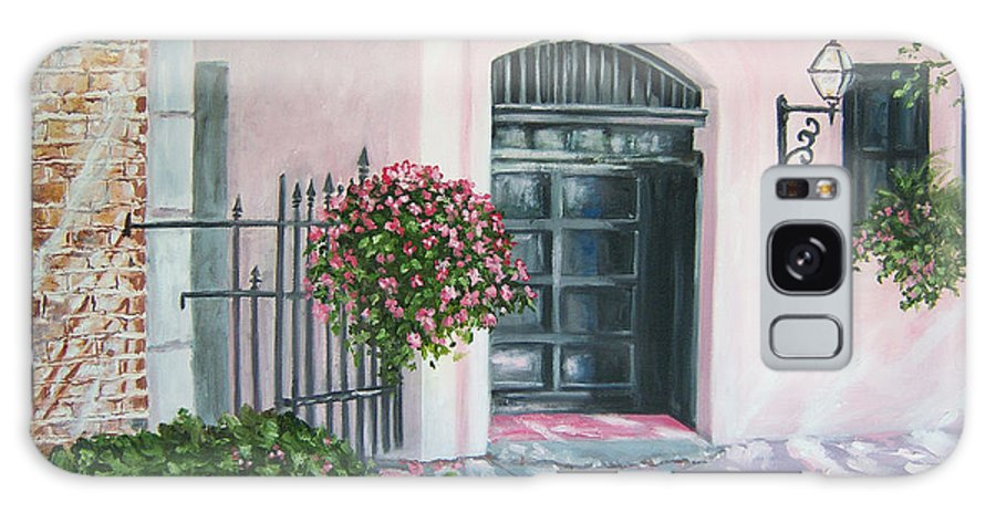 Fine Art Print Galaxy S8 Case featuring the painting oil painting print art for sale Pink Wall and Door  by Diane Jorstad