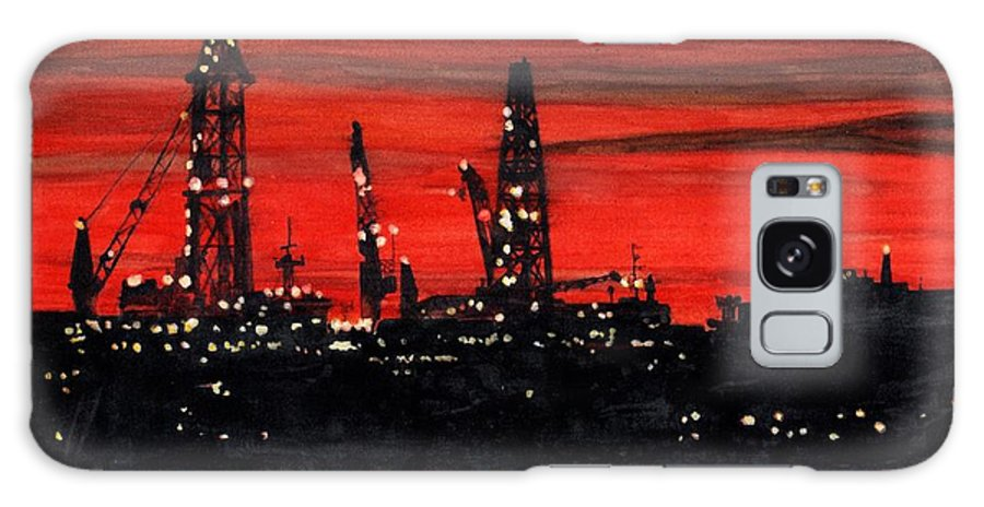 Cityscape Galaxy Case featuring the painting Oil Rigs Night Construction Portland Harbor by Dominic White