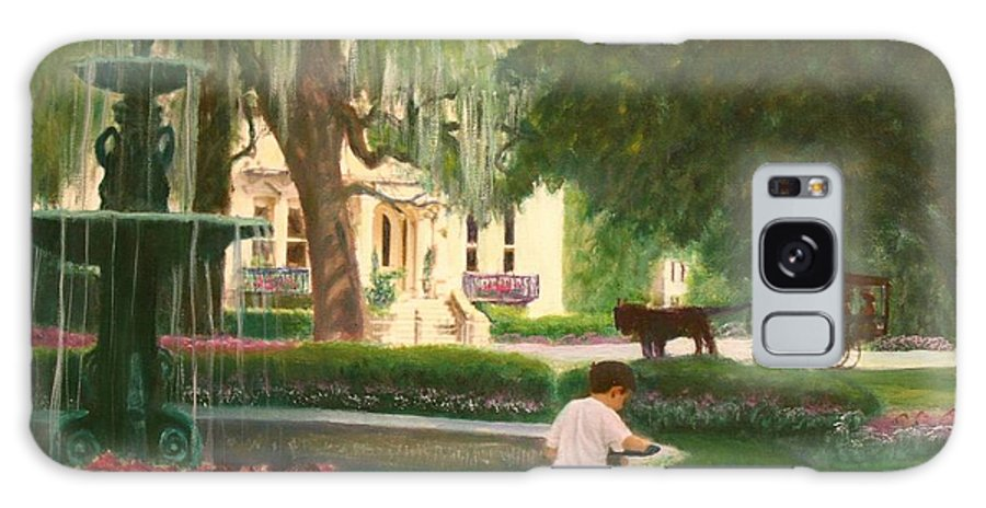 Savannah; Fountain; Child; House Galaxy S8 Case featuring the painting Old And Young Of Savannah by Ben Kiger