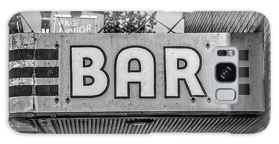 Livingston Galaxy S8 Case featuring the photograph Old Bar Sign Livingston Montana Black And White by Edward Fielding
