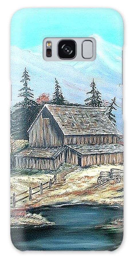 Landscape Pond Wagon Old Trees Mountain Galaxy S8 Case featuring the painting Old Barn Above The Pond by Kenneth LePoidevin