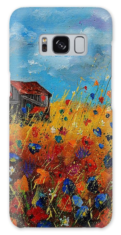 Flowers Galaxy S8 Case featuring the painting Old Barn And Wild Flowers by Pol Ledent