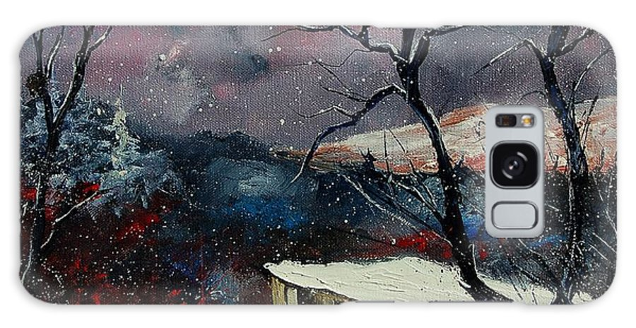 Winter Galaxy S8 Case featuring the painting Old Barn In Winter by Pol Ledent