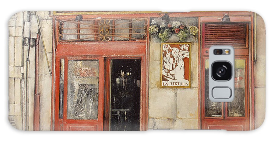 Cafe Galaxy S8 Case featuring the painting Old Cafe- Santander Spain by Tomas Castano