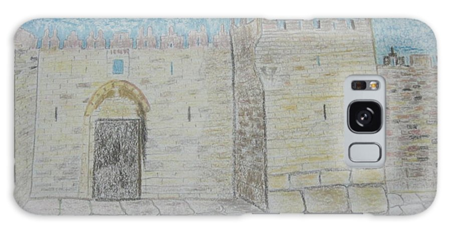 Landscape Galaxy S8 Case featuring the drawing Old City.jerusalem.color Pencils 1992 by Dr Loifer Vladimir