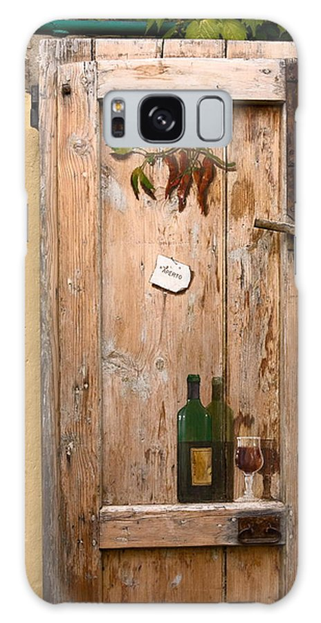 Old Door Galaxy S8 Case featuring the photograph Old Door And Wine by Sally Weigand