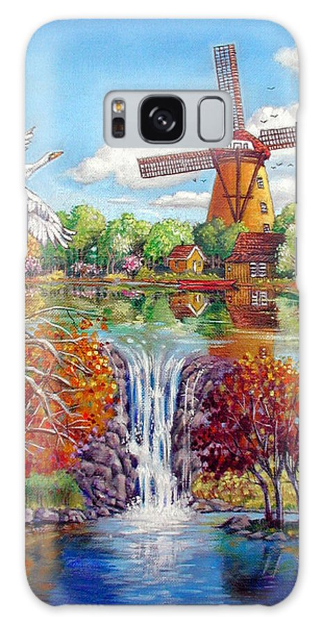 Dutch Windmill Galaxy S8 Case featuring the painting Old Dutch Windmill by John Lautermilch