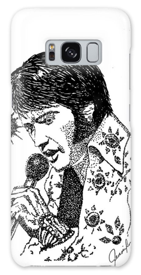Ink Galaxy S8 Case featuring the drawing Old Elvis by Jennifer Campbell Brewer