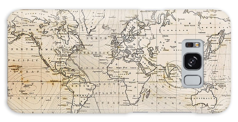 World Map Galaxy S8 Case featuring the photograph Old Hand Drawn Vintage World Map by Richard Thomas