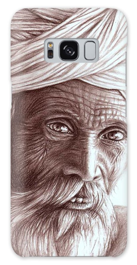 Man Galaxy S8 Case featuring the drawing Old Indian Man by Nicole Zeug