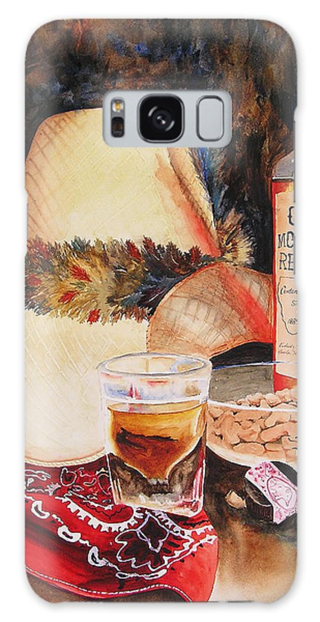 Whiskey Galaxy S8 Case featuring the painting Old Montana Red Eye by Karen Stark