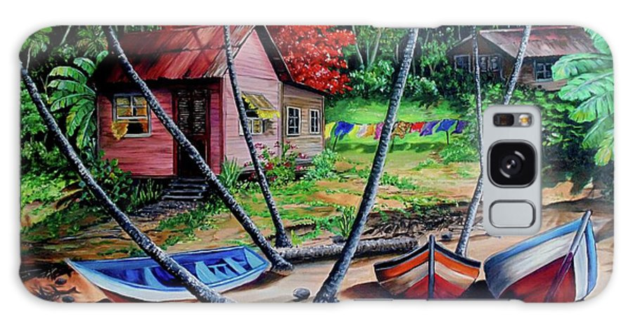 Tropical Galaxy Case featuring the painting Old Palatuvia Tobago by Karin Dawn Kelshall- Best