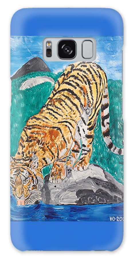 Cat Galaxy S8 Case featuring the painting Old Tiger Drinking by Valerie Ornstein