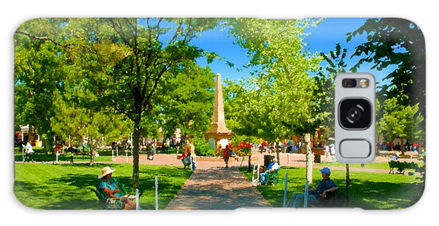 Santa Fe New Mexico Galaxy S8 Case featuring the painting Old Town Square Santa Fe by David Lee Thompson