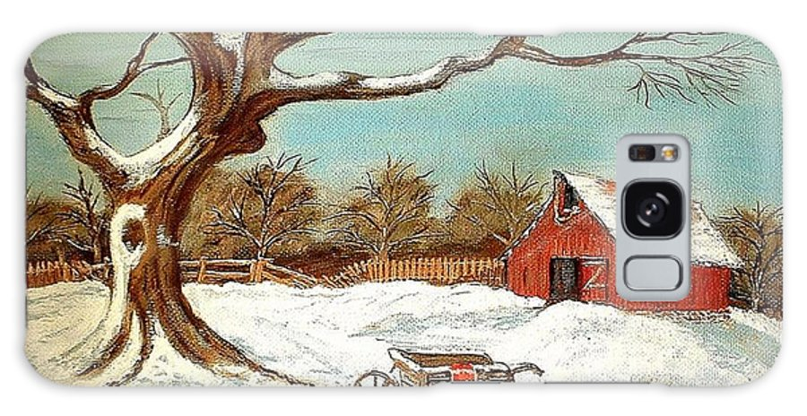 Old Tree Barn Wheelbarrow Snow Winter Painting Galaxy Case featuring the painting Old Tree And Barn by Kenneth LePoidevin