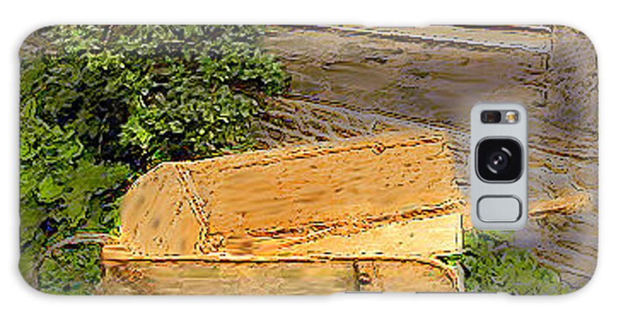 Wheelbarrow Galaxy S8 Case featuring the photograph Old Wheelbarrow Brushed by Ian MacDonald